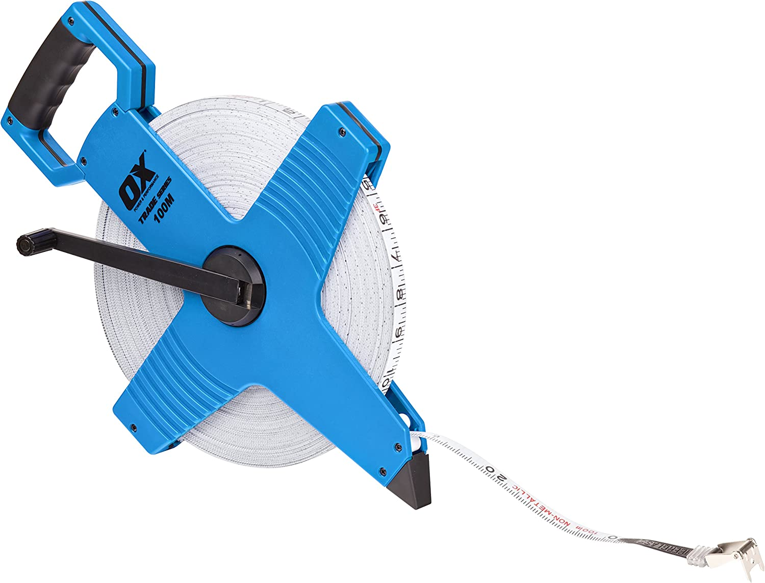 Metric /& Inches Professional 30m//100ft Geared Fibre Glass Tape Measure
