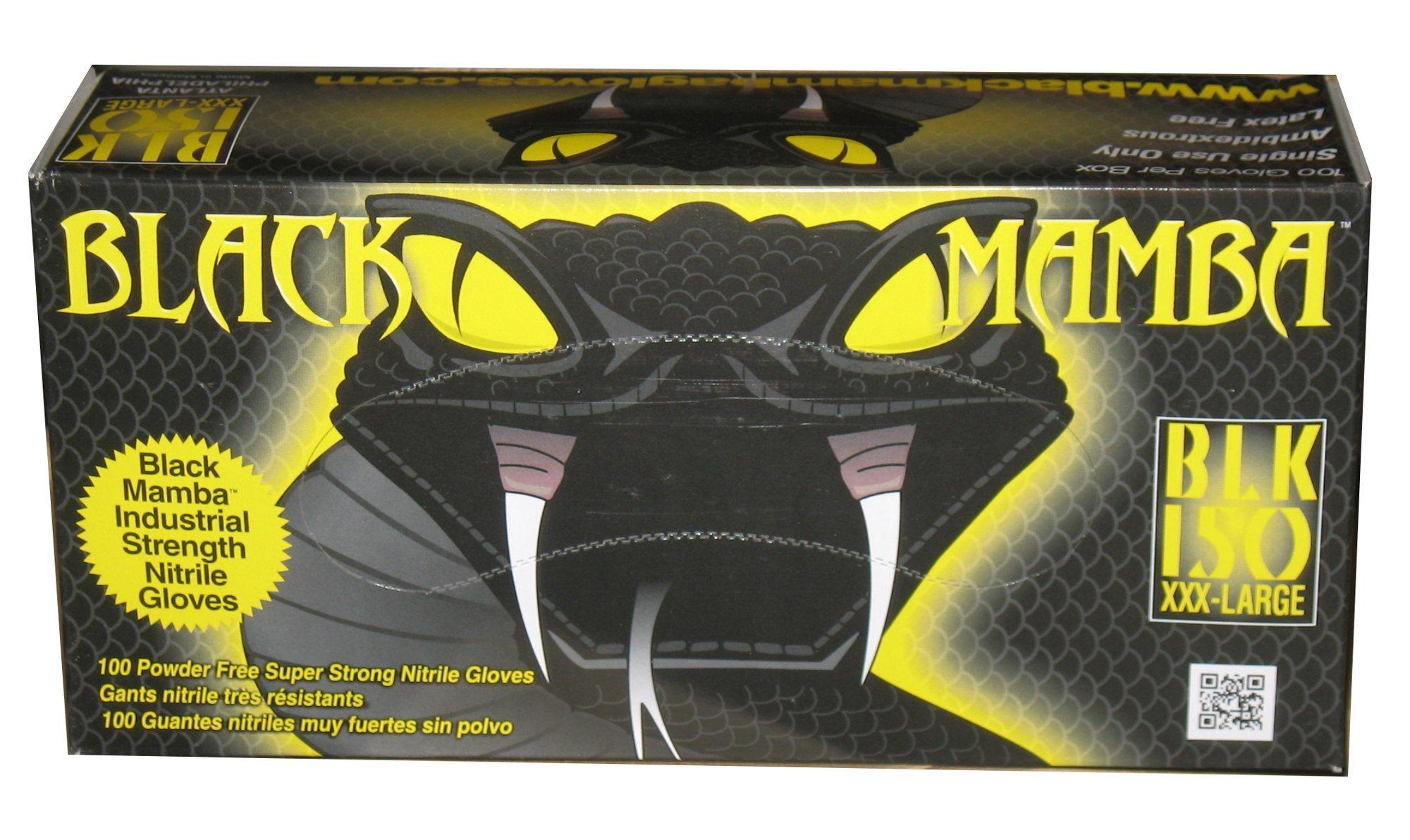 Black Mamba Super Strong Nitrile 100 Glove BOX (EXTRA EXTRA EXTRA LARGE) by Black Mamba Gloves