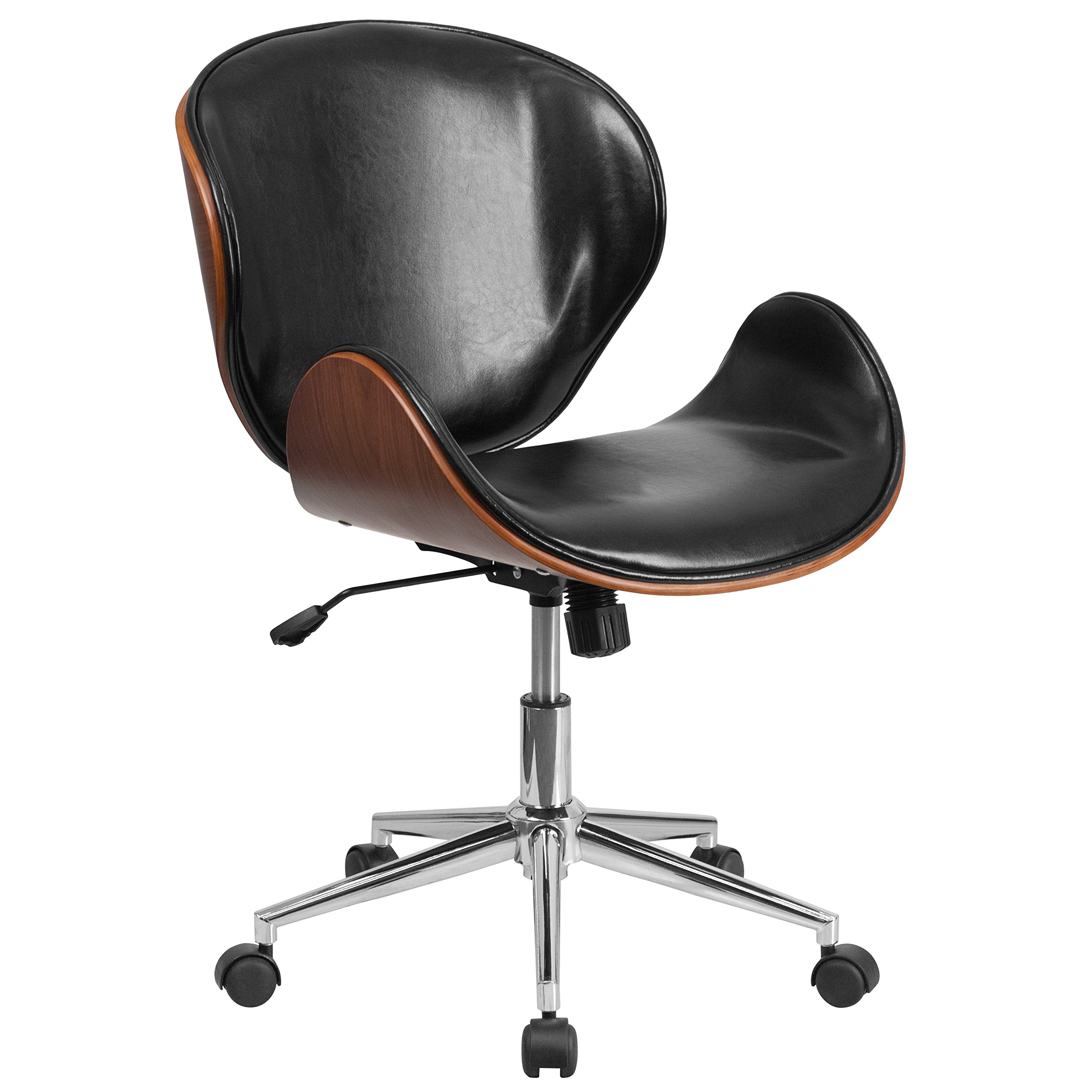 Flash Furniture Mid-Back Walnut Wood Swivel Conference Chair in Black Leather by Flash Furniture