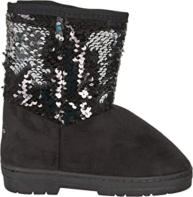 GIRLS BLACK SCHOOL BOOTS HIGH ANKLE GLITTER WINTER BOOTS WITH SIDE ZIP KIDS SIZE