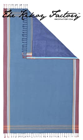 Kikoy Factory - Toalla de playa / Pareo - Toalla de baño - Kikoy Towel 13226Q12 - Color : Denim Blue - Tamaño : 95 x 165 cms: Amazon.es: Hogar