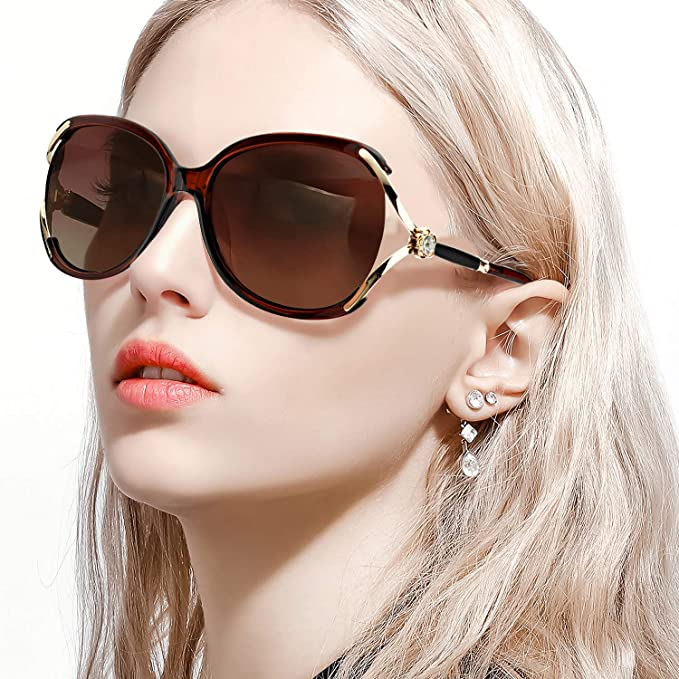 97d462380a7 FIMILU Women s Classic Oversized Polarized Sunglasses Elegant Fashion  Rhinestone Design for Driving Shopping Travelling