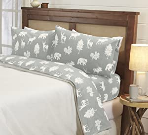 4-Piece Lodge Printed Ultra-Soft Microfiber Sheet Set. Beautiful Patterns Drawn from Nature, Comfortable, All-Season Bed Sheets. (King, Forest Animal - Light Grey)