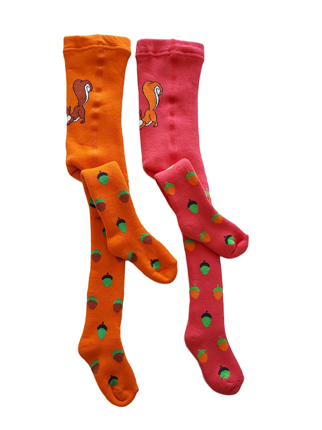 SanKleo Baby Girls Cotton Warm Tights (2 Pack) Orange Pink Squirrel Comfy And Cute Fits 18-24 Months Baby Girl