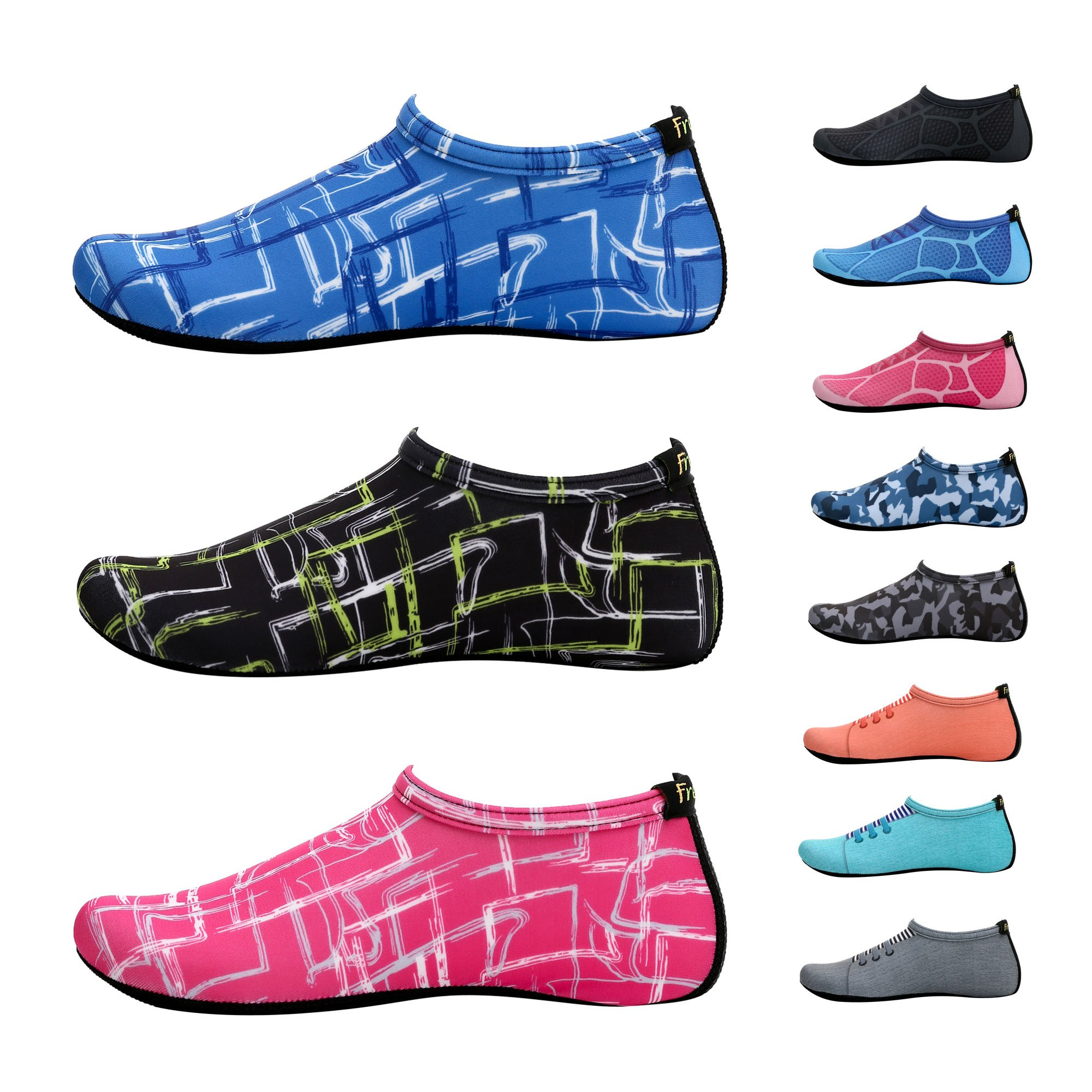 Freely New Barefoot Water Skin Shoes Aqua Socks For Beach Swim Surf Yoga Exercise Tpink 5. XL (US M:7.5~9, W:8.5~10)