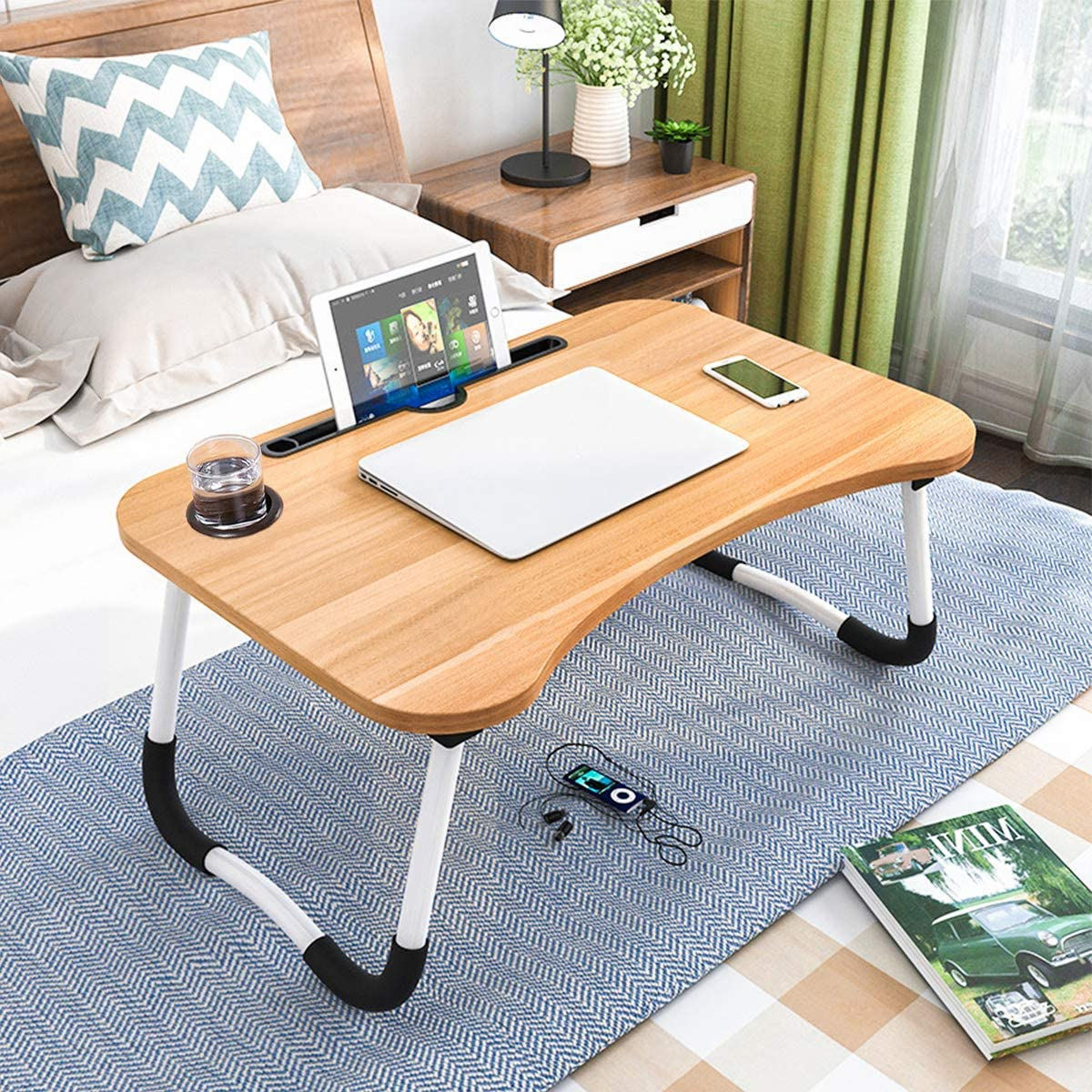 Foldable Laptop Table, CHARMDI Portable Laptop Bed Tray Table Folding Dormitory Table Notebook Stand Reading Holder Breakfast Serving Bed Tray with Tablet Slots & Cup Holder for Bed/Couch/Sofa-Golden