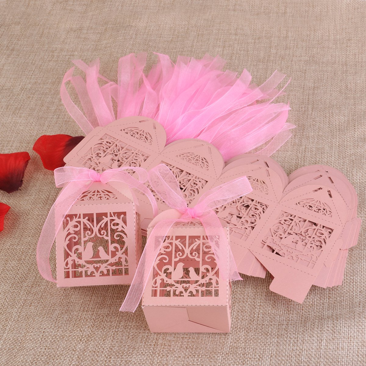 Amazon.com: Tinksky 50pcs Floral Heart Bird Wedding Party Favor ...