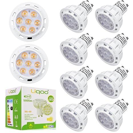 Liqoo® 10 x GU10 7W Bombilla LED Lámpara Bajo Consumo Ahorra 90% Energía Blanco