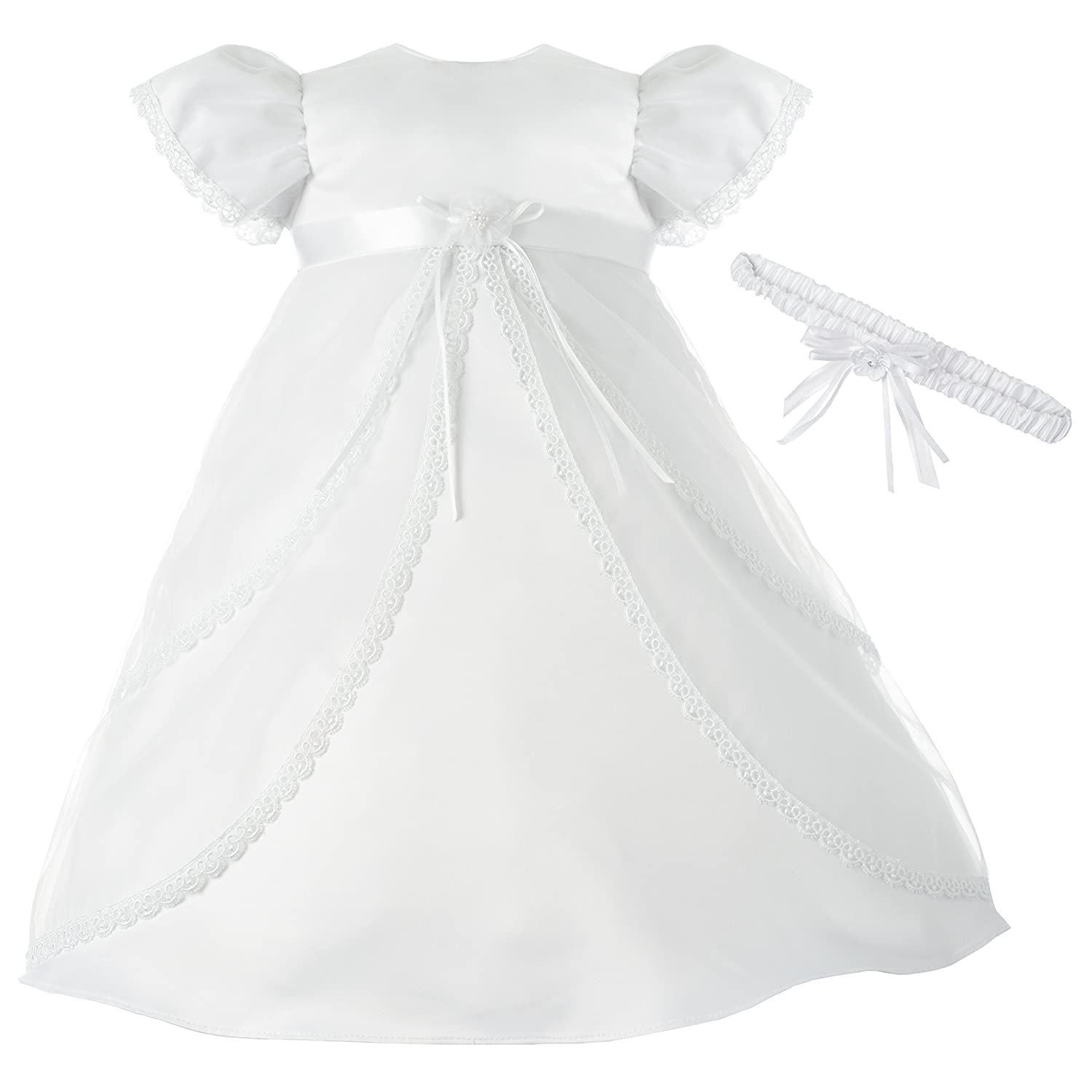 Lauren Madison Baby-Girls Newborn Sheer Over Satin Dress Gown Outfit 1362