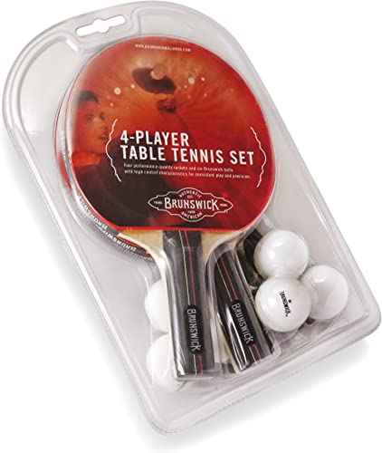 Brunswick 4 Paddle Set with 6 Ball Table Tennis Set