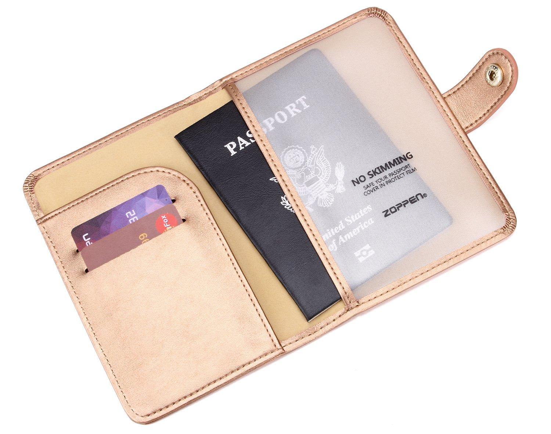 Cocobolo Brown Zoppen Unisex RFID Blocking Travel Passport Holder Id Card Cover