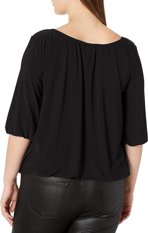 Star Vixen Womens Plus-Size Peasant Top with Elastic Hem
