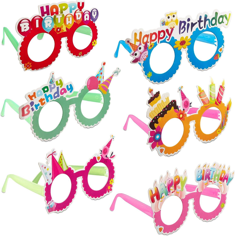 Relaxdays Gafas de Fiesta para Cumpleaños, Accesorio Divertido, Decoración Happy Birthday, Plástico-Papel, Multicolor, (10024250) , color/modelo surtido