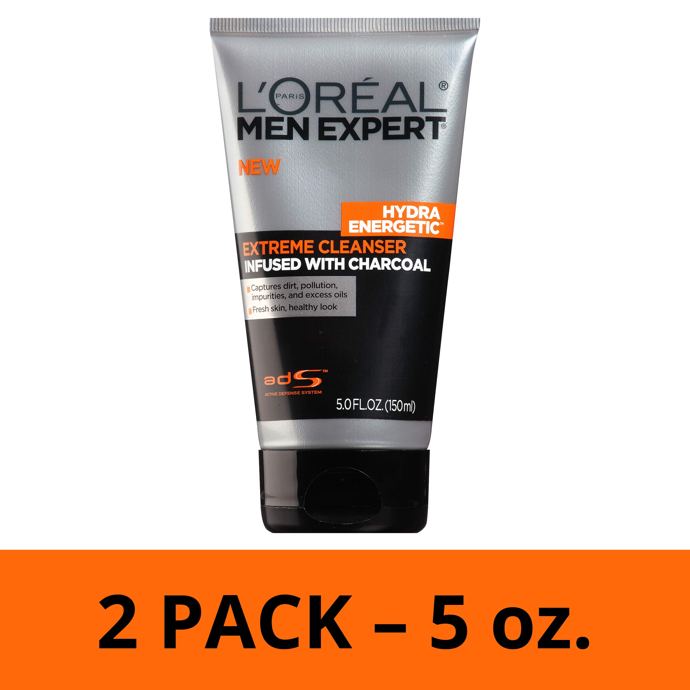 L'Oréal Paris Skincare Men Expert Hydra Energetic Facial Cleanser with Charcoal for Daily Face Washing, 2 count by L'Oreal Paris