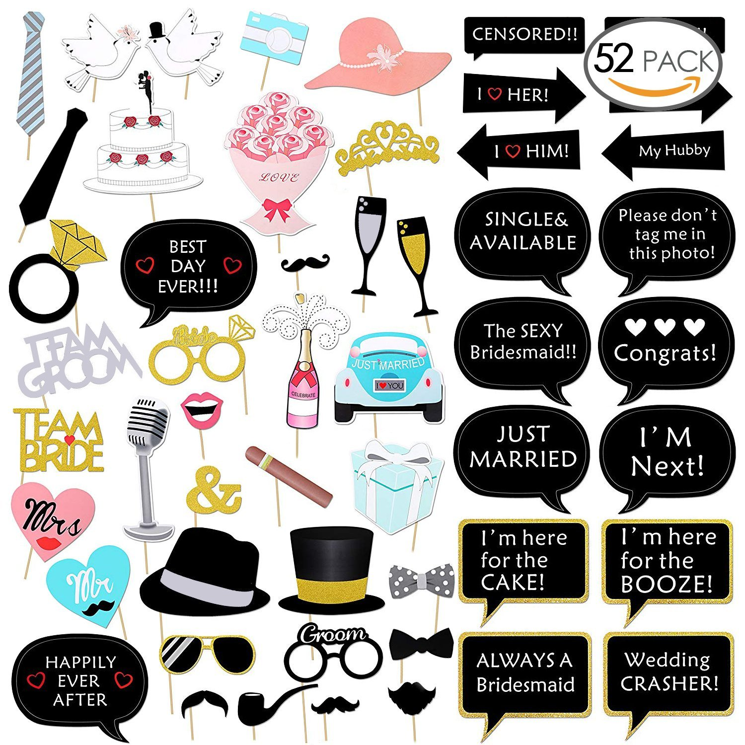 Alintor 52 Pcs Wedding Photo Booth Props – Wedding Decoration and Supplies, Selfie Props Great for Wedding Favours, Bridal Shower, Wedding Shower, Bachelorette Party, Wedding Party