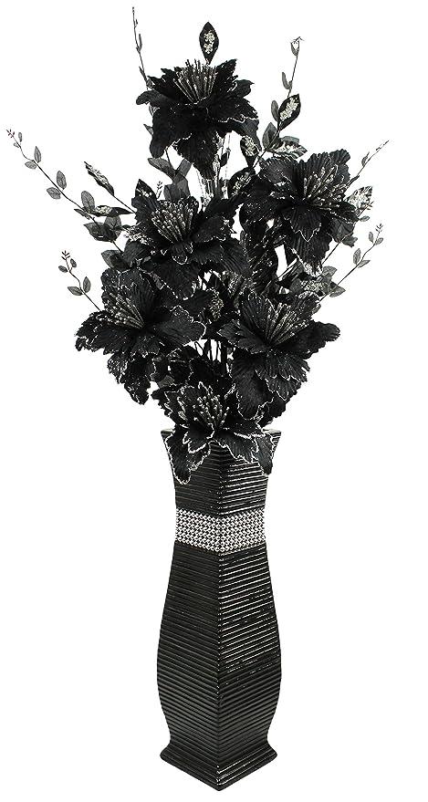 Large Black Floor Vase With Black Sparkle Artificial Flowers Bling