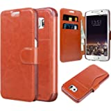 Taken Galaxy S6 Case - Faux Leather Wallet Case with Card Slot for Samsung Galaxy S6 (Brown)