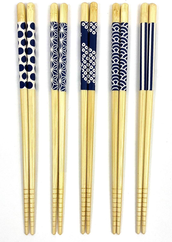 JapanBargain, Bamboo Chopsticks Reusable Japanese Chinese Korean Chopsticks Set Wood Chop Sticks Hair Sticks 5 Pair Gift Set Dishwasher Safe, 9 inch (1, Ivory/Blue)