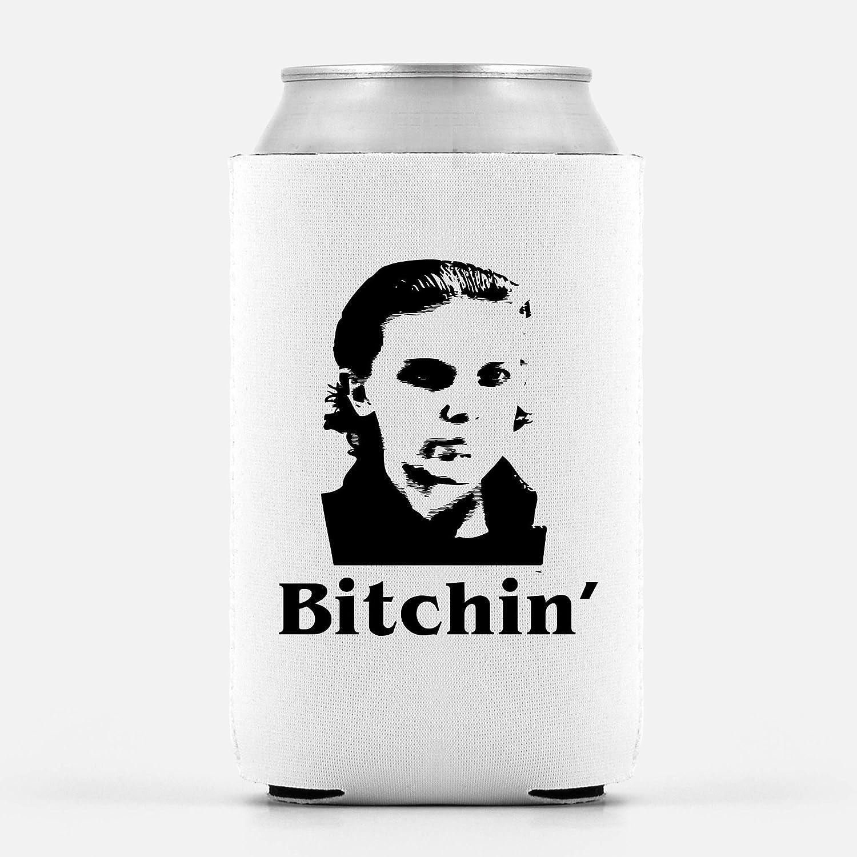 Stranger Things Beer Coolie - Eleven Bitchin | Funny Novelty Beer Can Cooler Bottle Coolie Huggie | Beer Beverage Holder - Craft Beer Gifts - Quality Neoprene Can Cooler