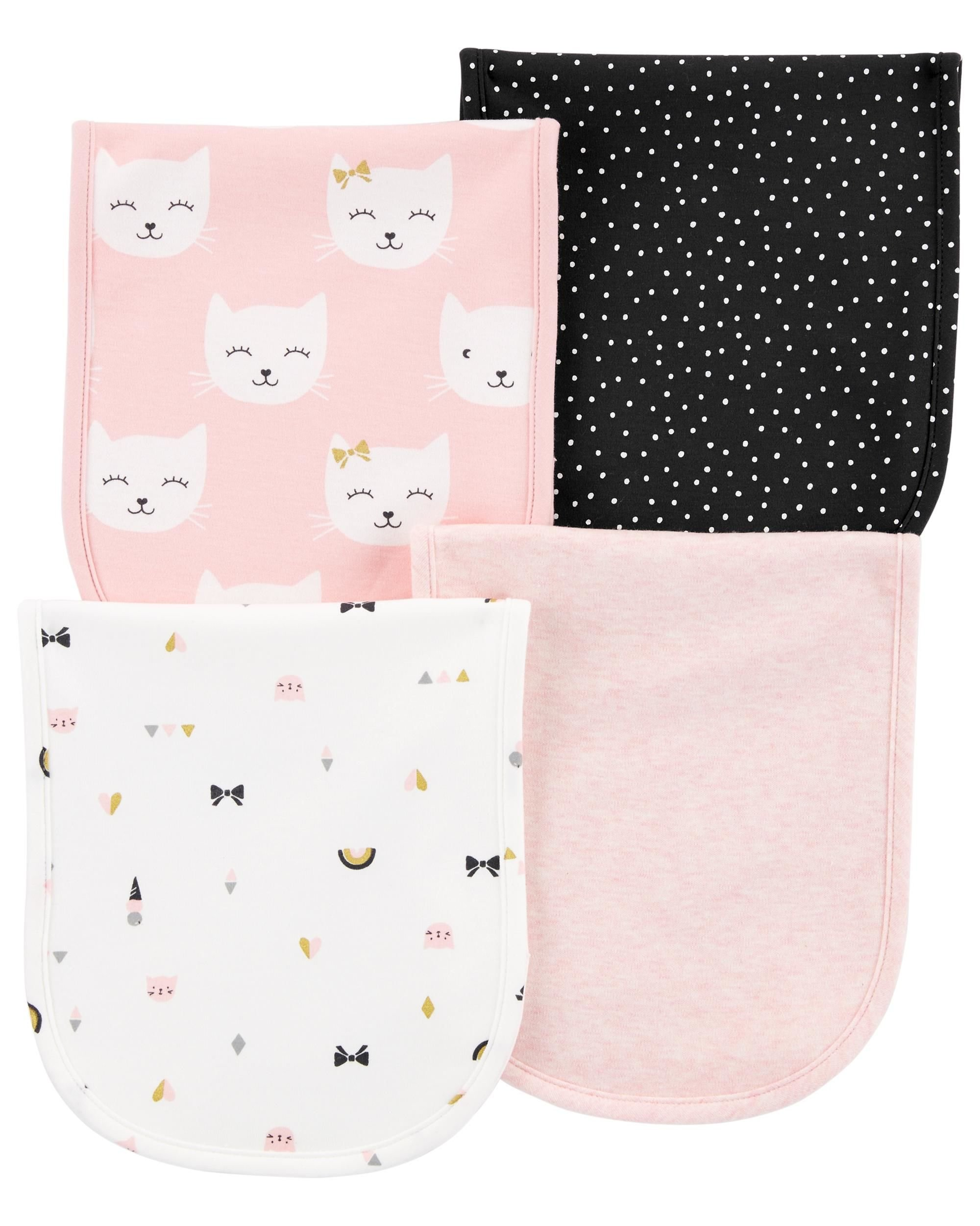 Carters Baby Girls 4-Pack Burp Cloths