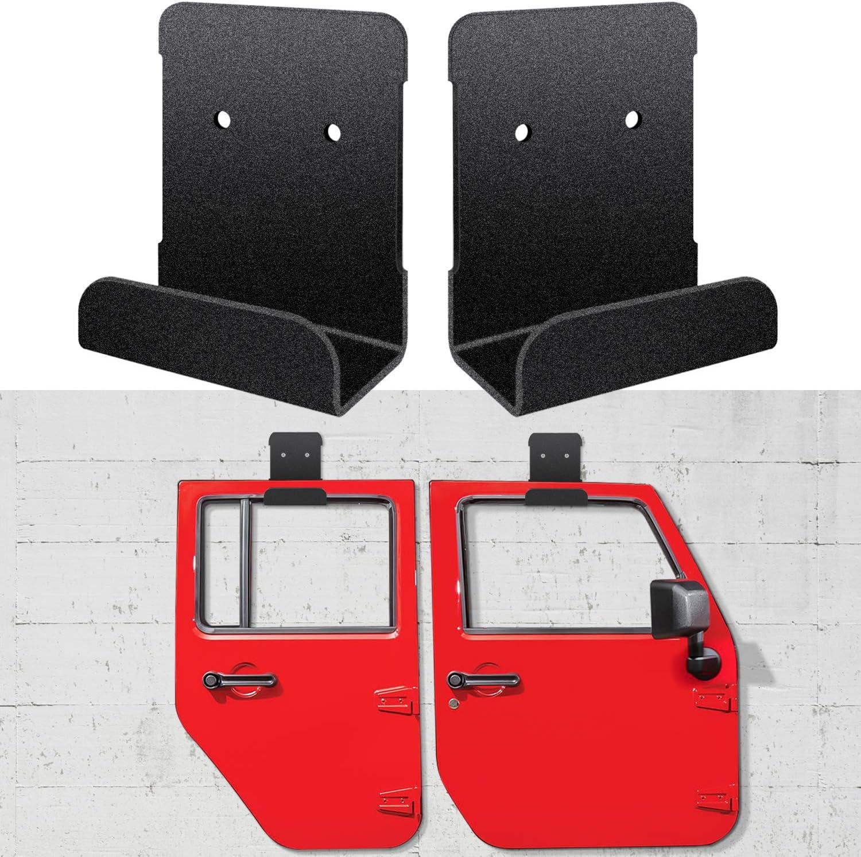 Set of 4 Hangers Sunluway Door Hanger Removable Wall-Mounted Door Storage Rack Bracket for All Jeep Wrangler CJ YJ TJ LJ JK JKU and 2018 2019 JL JLU