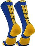 TCK Elite Performance Crew Socks (Royal/Gold, X-Large)
