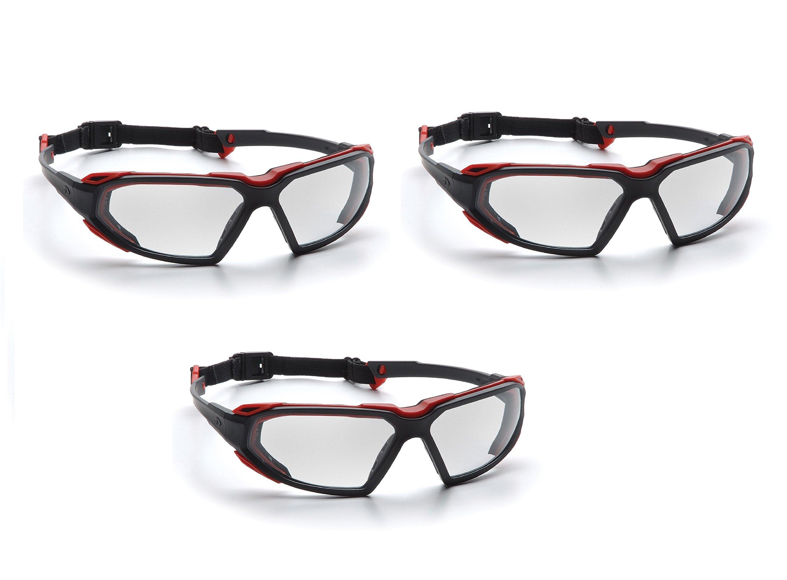 Highlander Pyramex Safety Eyewear (Black-Red Frame/Clear Anti-Fog Lens) (3 Pair Pack) by Highlander