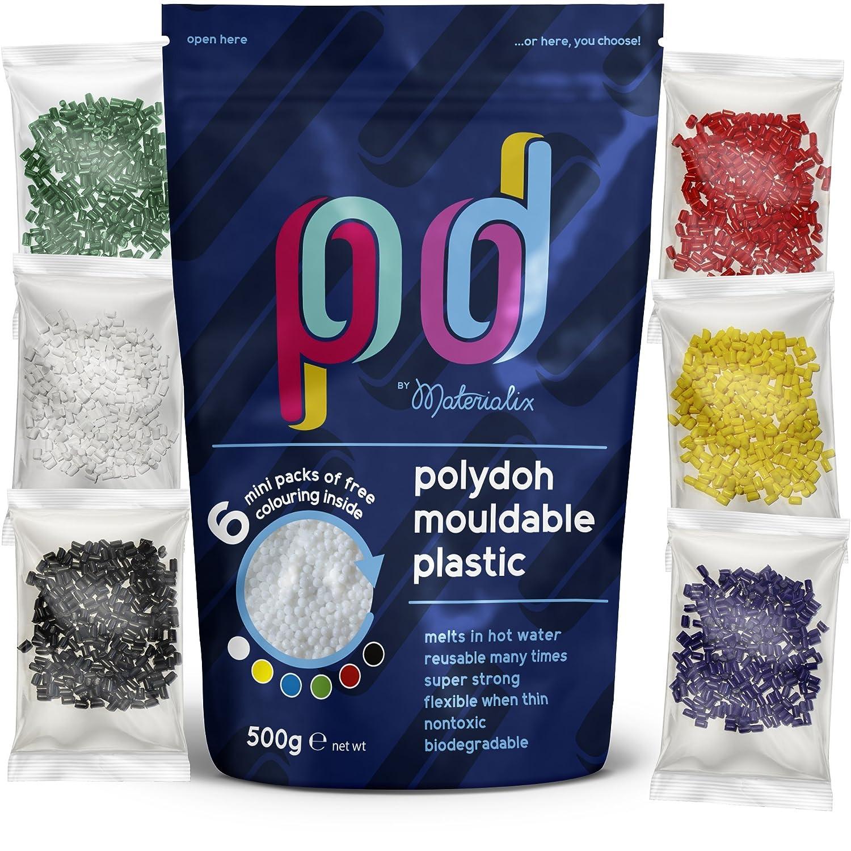 Polydoh Formbarer Kunststoff, inkl. 6 Packungen Färbegranulat (500g) [polymorph, plastimake, instamorph] Materialix