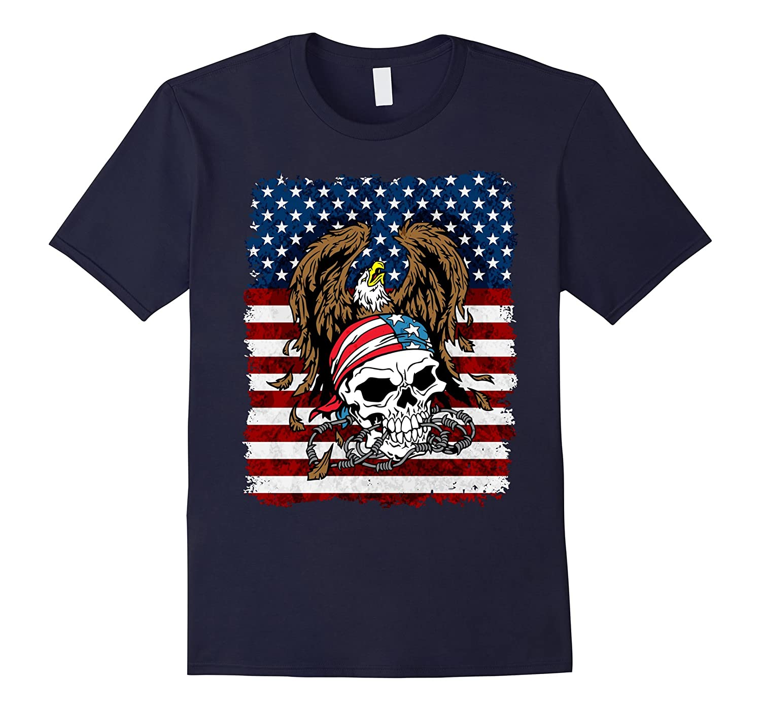 American Bald Eagle and Patriotic Skull USA Flag Shirt-FL
