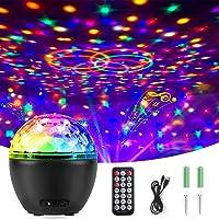 Qxmcov Led-discobol, feestlicht, led-projectorlamp, verlichting, muzieklichteffecten, met afstandsbediening, voor…