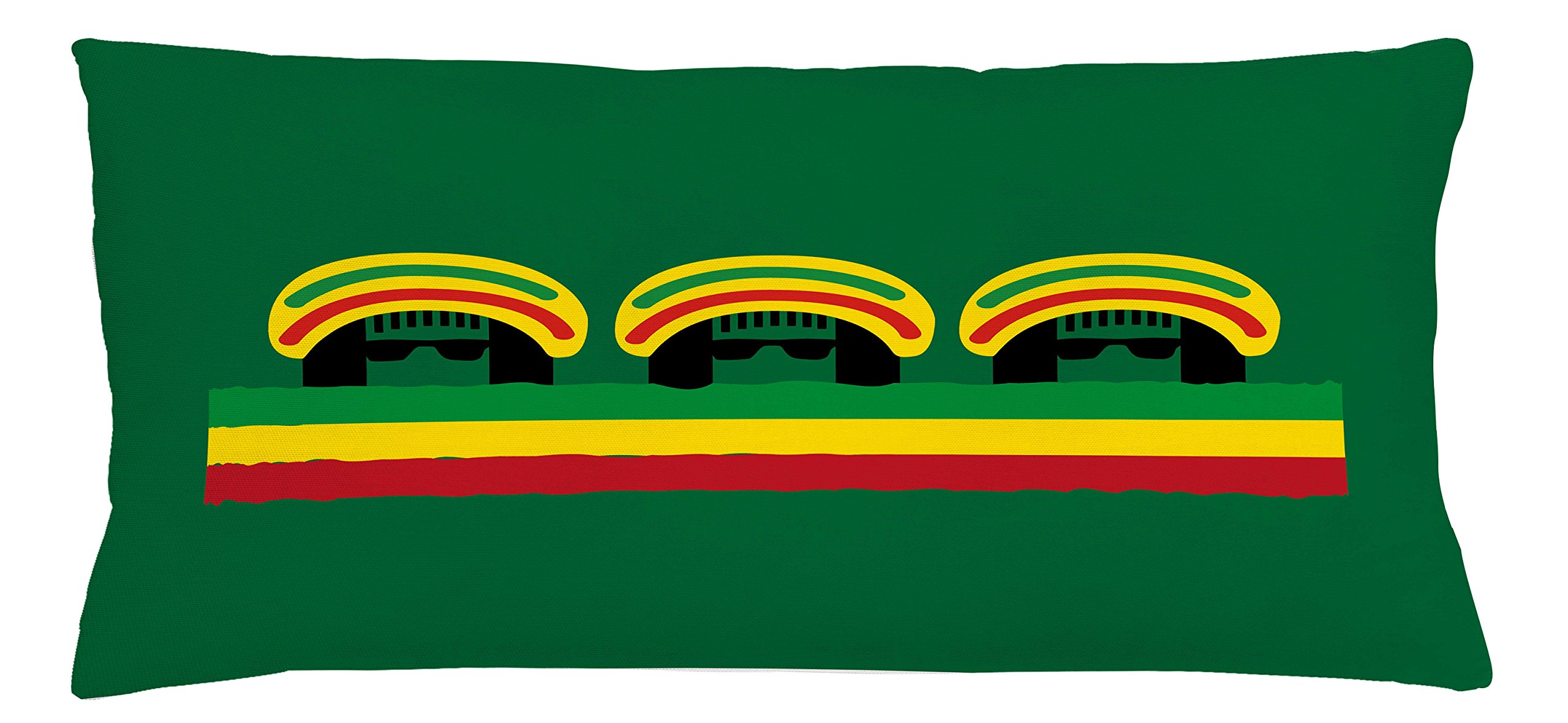 Ambesonne Jamaican Throw Pillow Cushion Cover, Jamaican Reggae Culture Inspired Minimal Head Shapes with Hats Country Flag, Decorative Square Accent Pillow Case, 36 X 16 inches, Green Multicolor