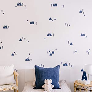 "Modern Maxwell Wall Art Decals for Boys Nursery, Bedroom, Living Room ""Wasatch"" Navy Mountain and Trees Room Sticker 104 Pieces"