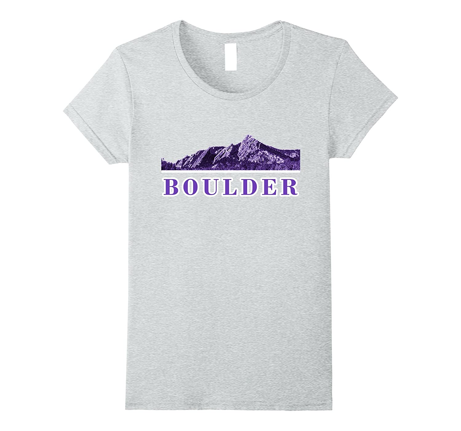 Boulder Colorado Shirt with The Boulder Flat Irons Purple