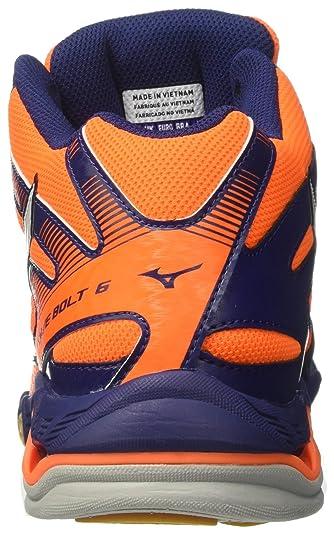 Mizuno Wave Bolt 6 Mid, Scarpe da Ginnastica Uomo, Arancione (Orange Clown FishWhiteBlue Depths), 46 EU