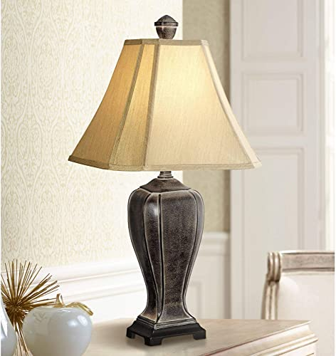 Traditional Rustic Jar Style Table Lamp Decor Desert Crackle Black Gold Taupe Faux Silk Bell Shade