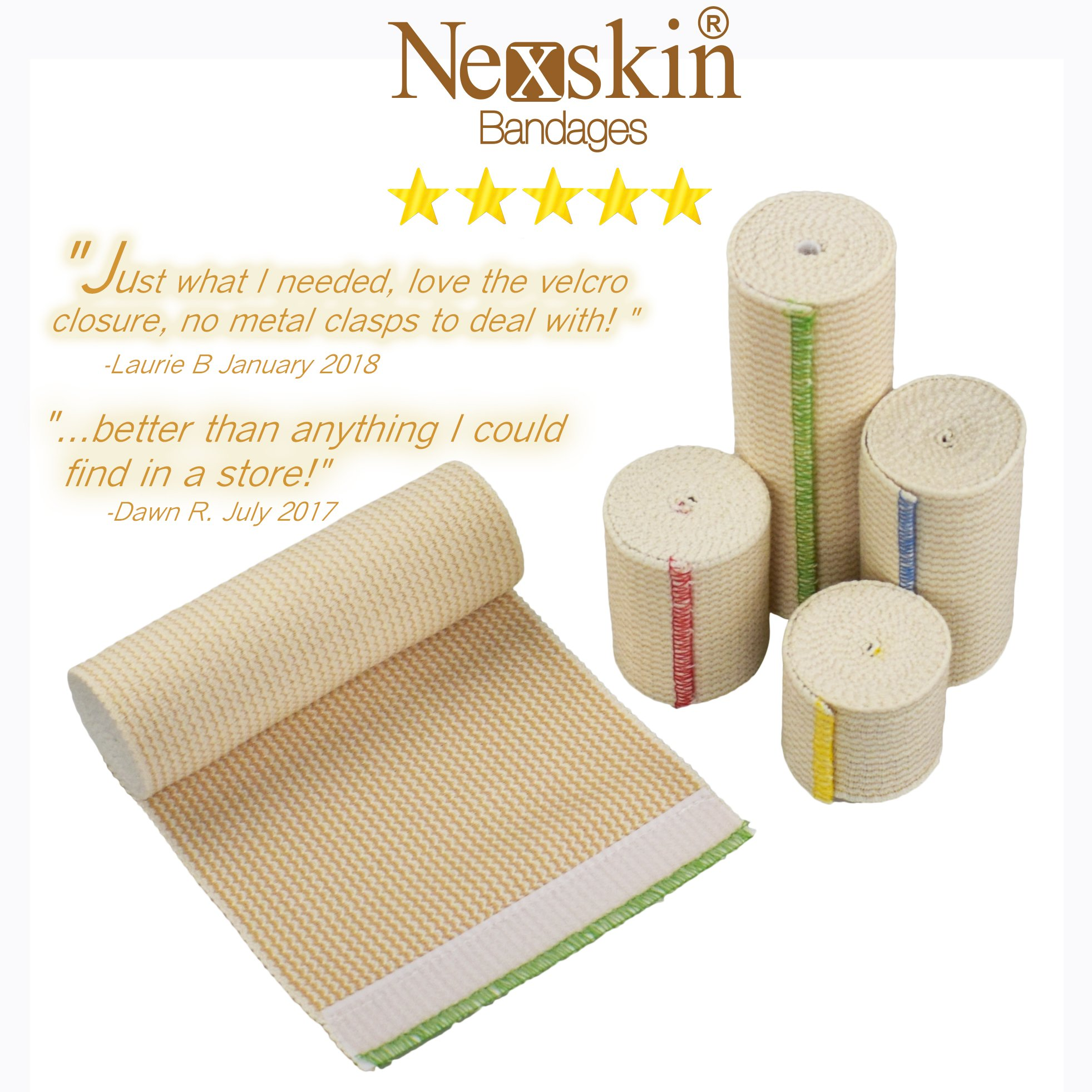 NexSkin Elastic Bandage Wrap with Hook and Loop Closure, 4'' Width - 2 Pack