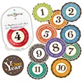 "Original Stick'Nsnap(TM) 12 unisex ""Happy Colors"" (TM) milestones first year monthly growth stickers, with re-sealable pouch. 3.25'', Great Baby Shower Gift!"