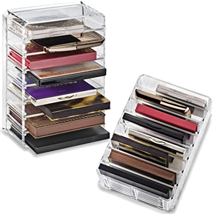 byAlegory Organizador de la paleta del maquillaje de acrílico con los divisores removibles diseñados para colocarse y poner el plano | 8 espacios para ...