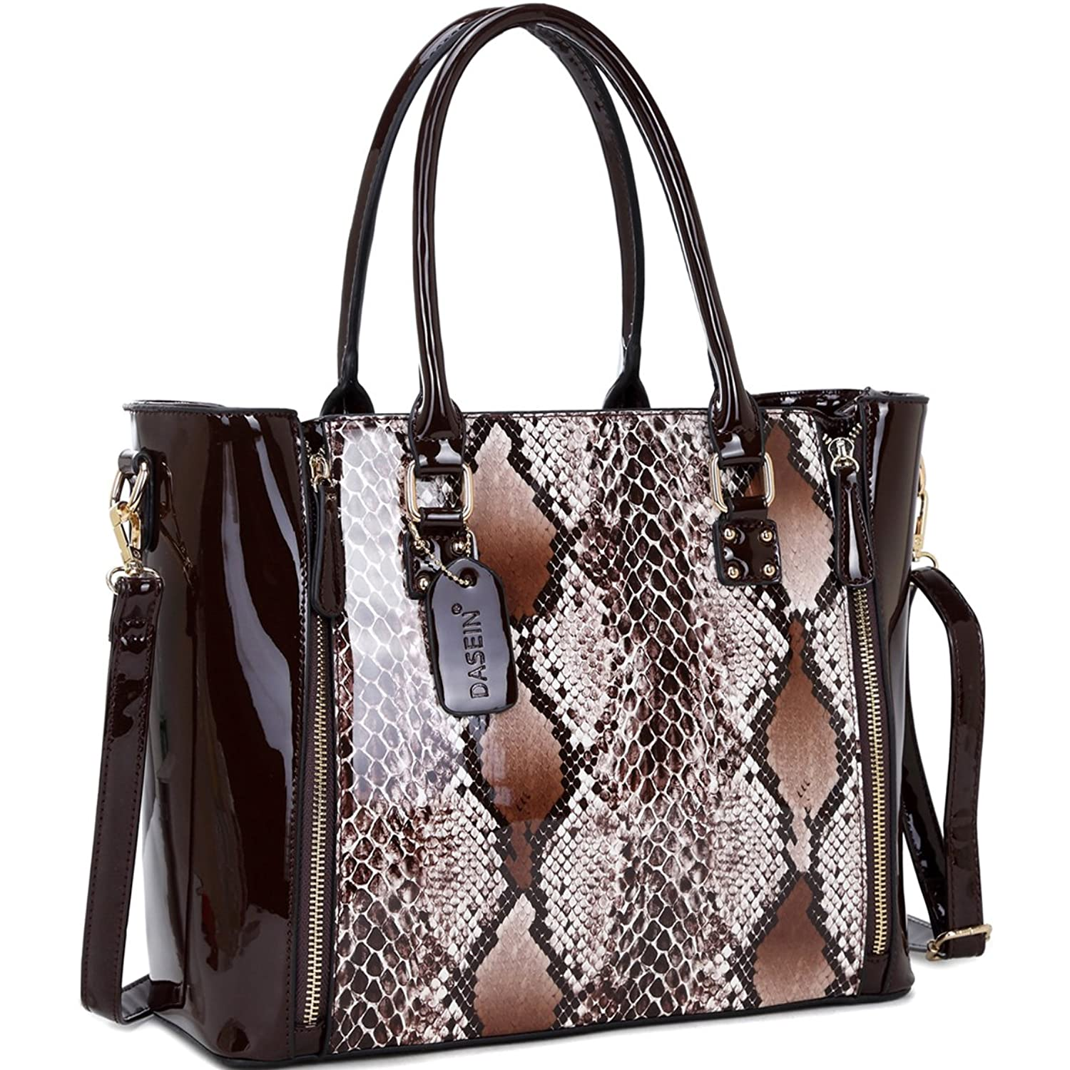 Dasein Faux Patent Leather Zipper Sides with Snakeskin Detail Satchel Shoulder Bag
