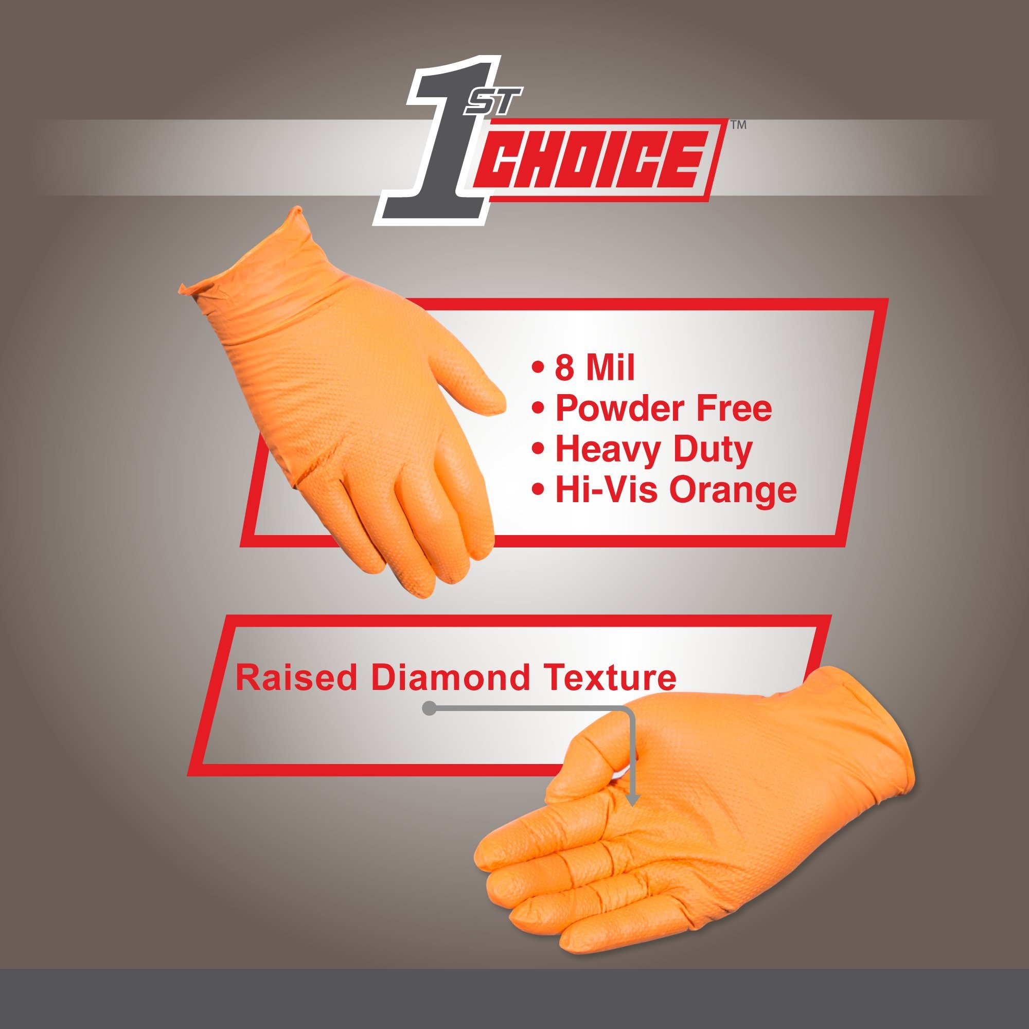 1st Choice Industrial 8 Mil Orange Nitrile Gloves - Latex Free, Powder Free, Non-Sterile, Large, Case of 400 by 1st Choice (Image #3)