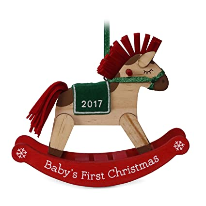 amazon com hallmark keepsake 2017 baby s first christmas dated