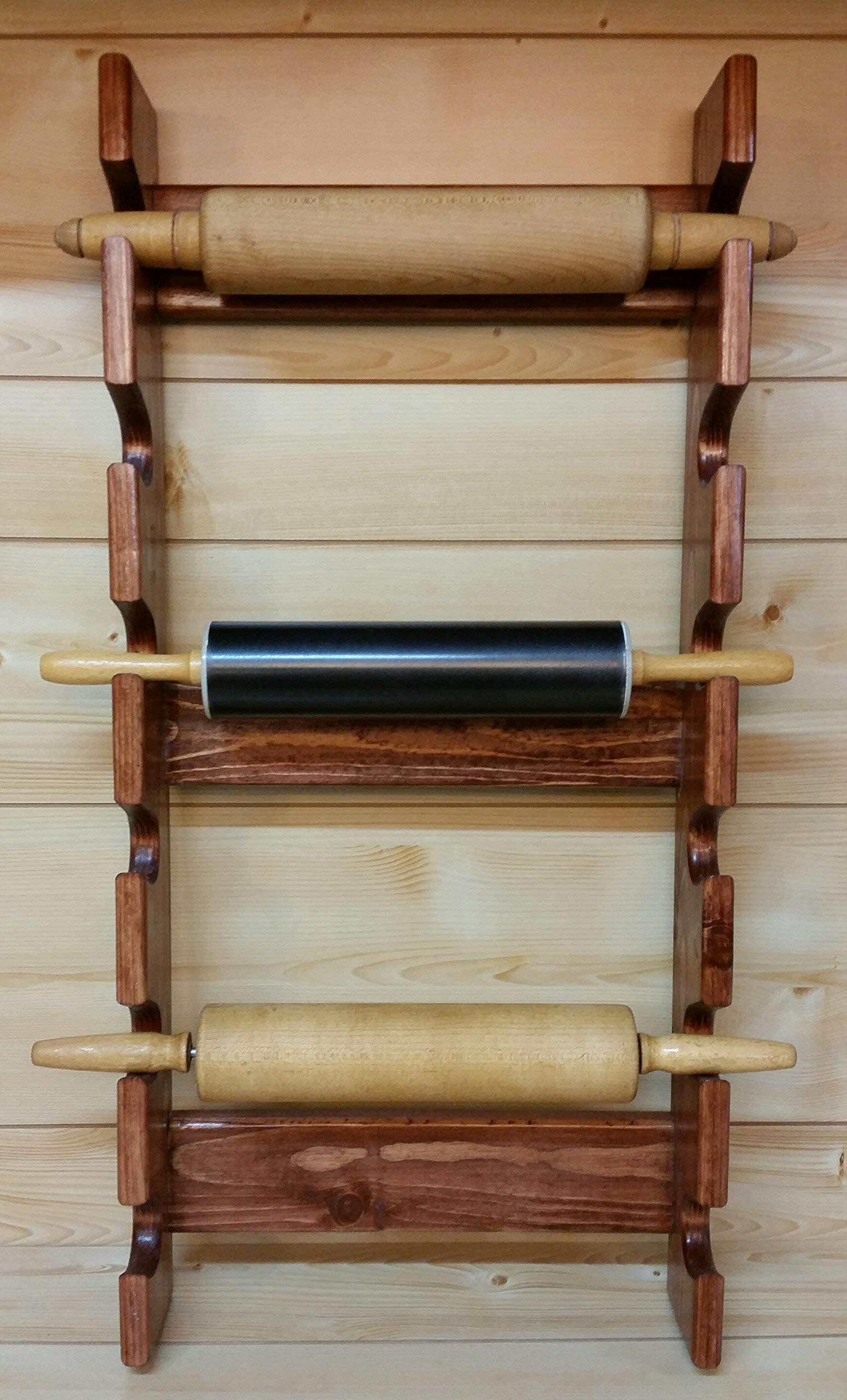 Rolling Pin Rack with Six Slots - Multiple Rolling Pin Rack - Rolling Pin Holder - Rolling Pin Storage - Rolling Pin Rack for 6 by Rusty Nail Custom Woodworking (Image #3)