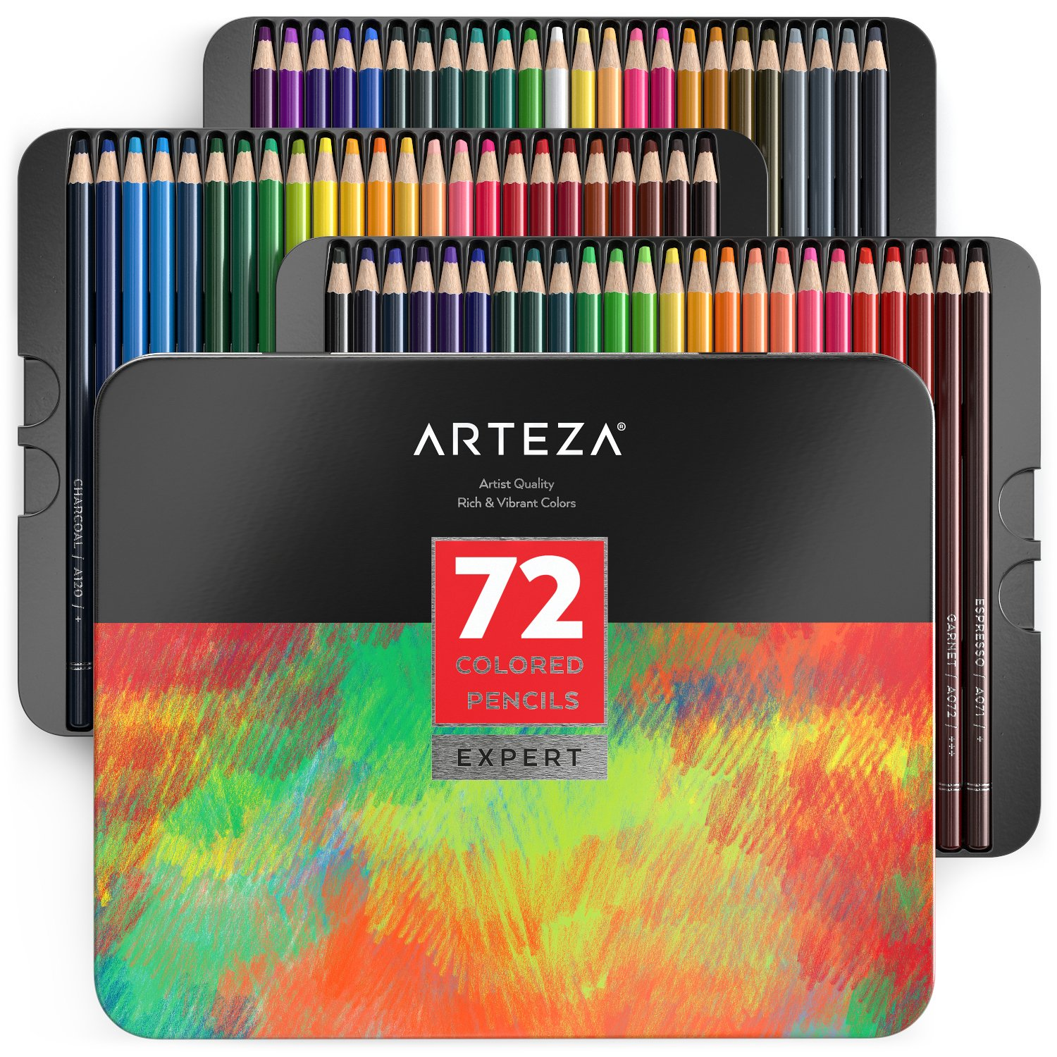 ARTEZA Colored Pencils, Professional Set of 72 Colors, Soft Wax-Based Cores, Ideal for Drawing Art, Sketching, Shading & Coloring, Vibrant Artist Pencils for Beginners & Pro Artists in Tin Box by ARTEZA