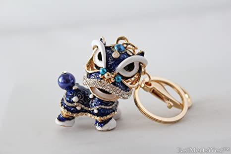 Amazon.com: Bejeweled dorado, Metal, vidrio chino Fu de león ...