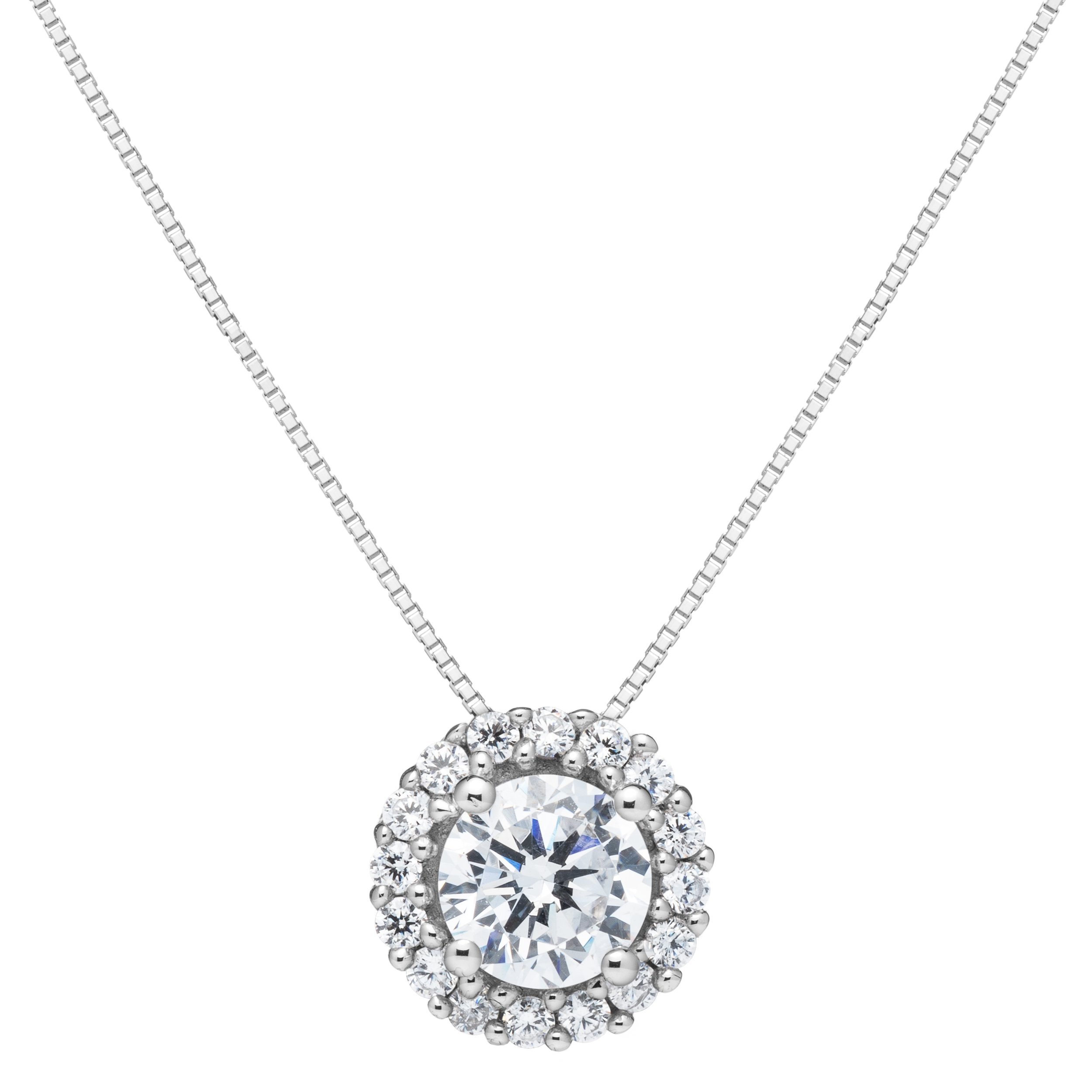 14K Solid White Gold Round Cut Cubic Zirconia Solitaire Pendant Necklace (1.0 ct center, 1.24 cttw), 18 inch .60mm Box Link Chain, Gift Box