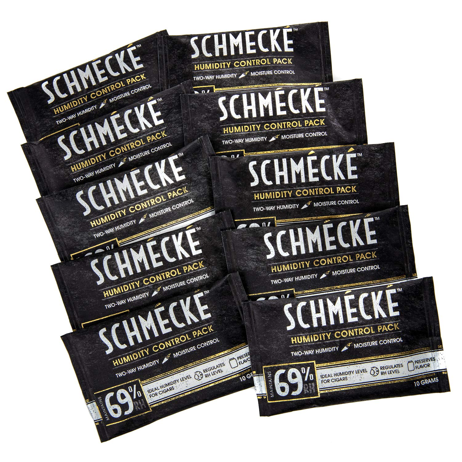 Schmécké 69% RH Cigar Two-Way Humidity Control 10 Grams x 10 Pack - Zero Guesswork - Regulate & Stabilize Humidor RH Level by Schmécké