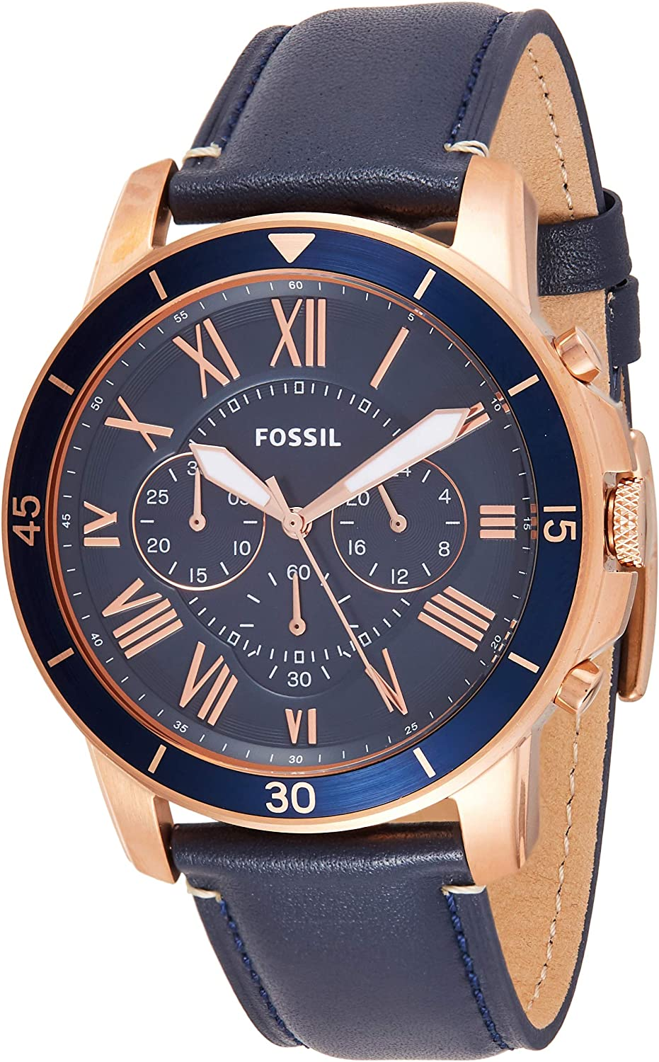 Fossil Men s Grant Sport Stainless Steel and Leather Chronograph Quartz Watch