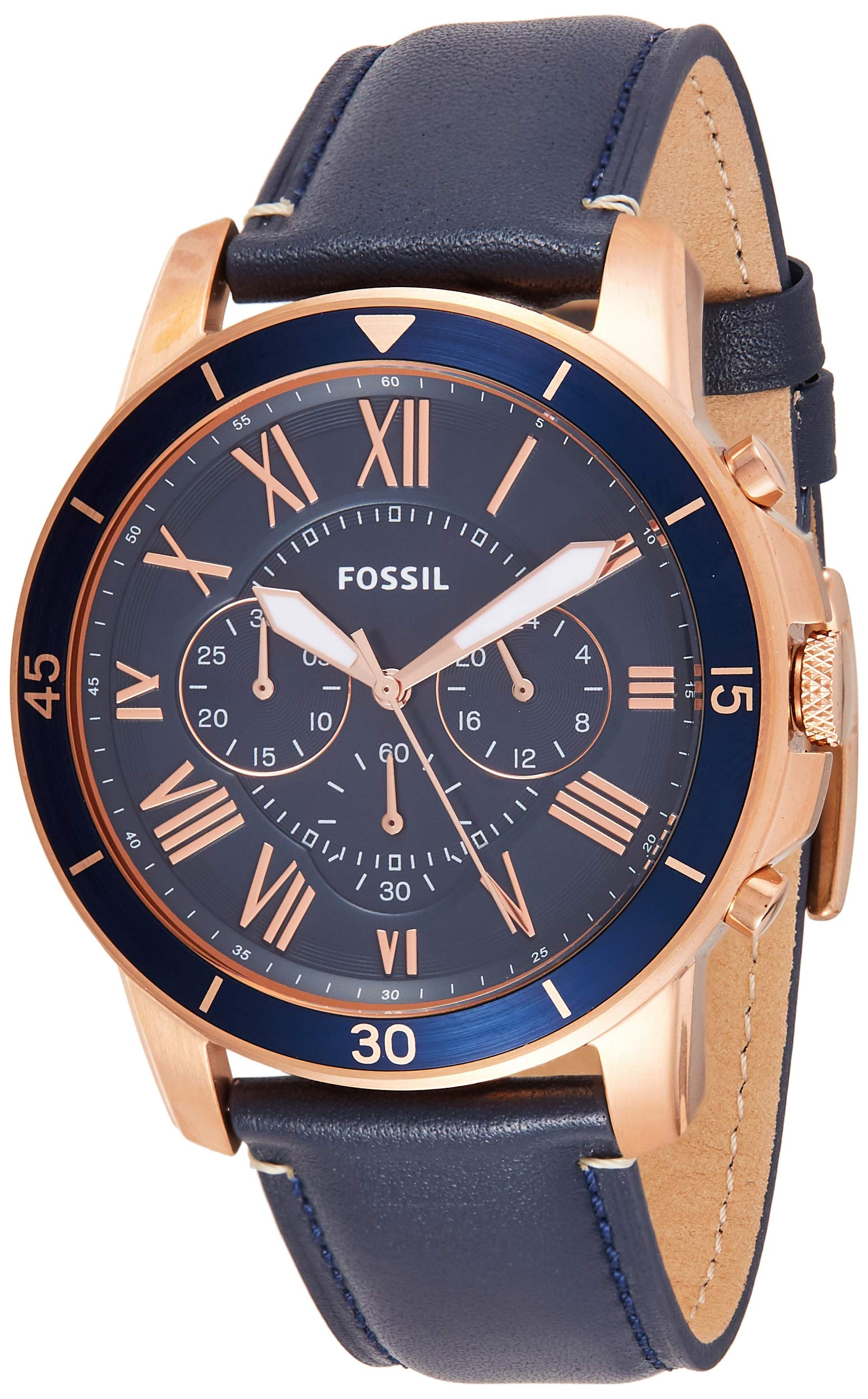 Fossil Men's Grant Sport Quartz Stainless Steel and leather Dress Watch Color: Rose gold, Navy (Model: FS5237) by Fossil
