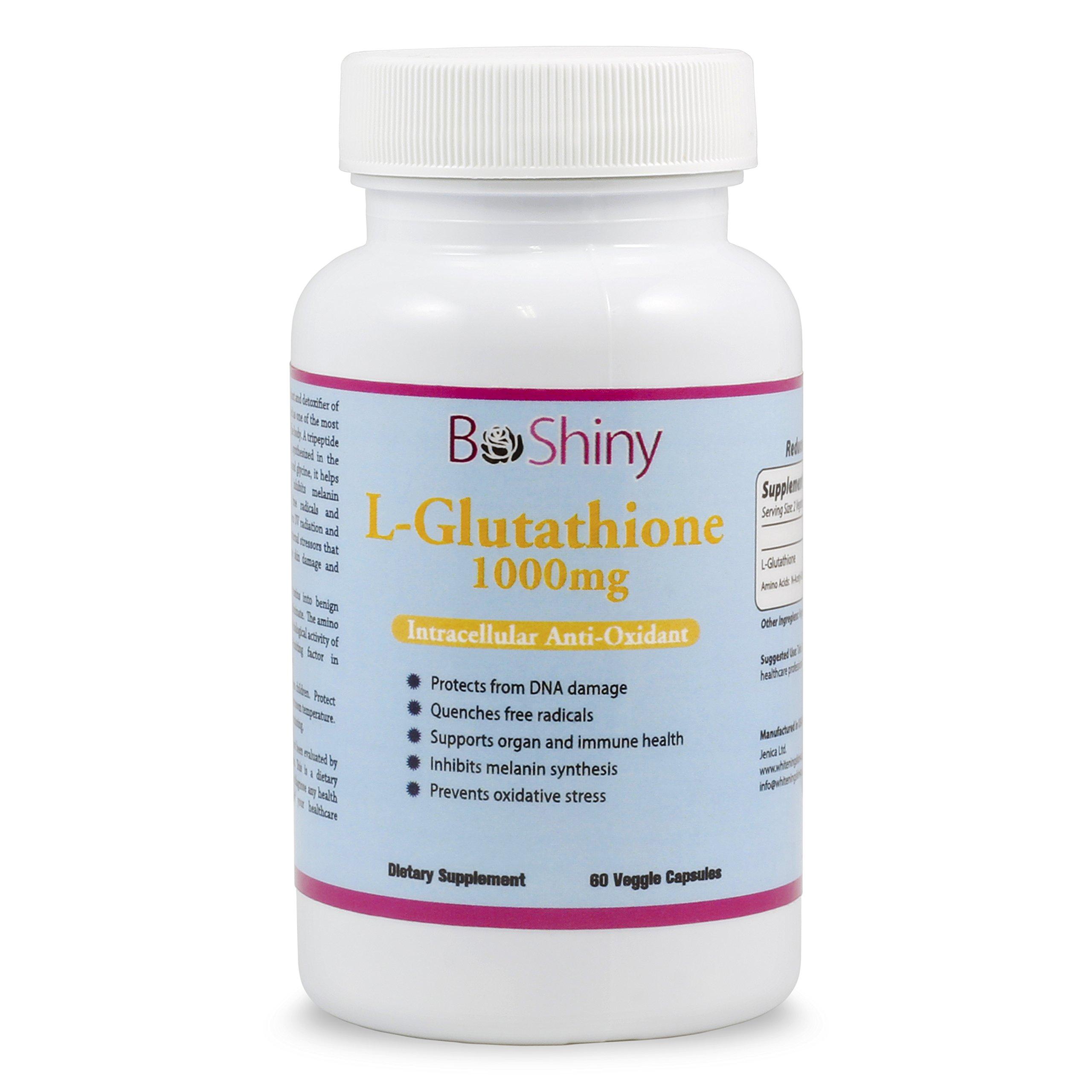 L Glutathione Skin Lightening Brightening Pills 1000 mg Antioxidant Anti Aging to Support Liver Health & Detox Help Immune & Brain Function Reduce Free Radical Damage Vegan 60 Capsules