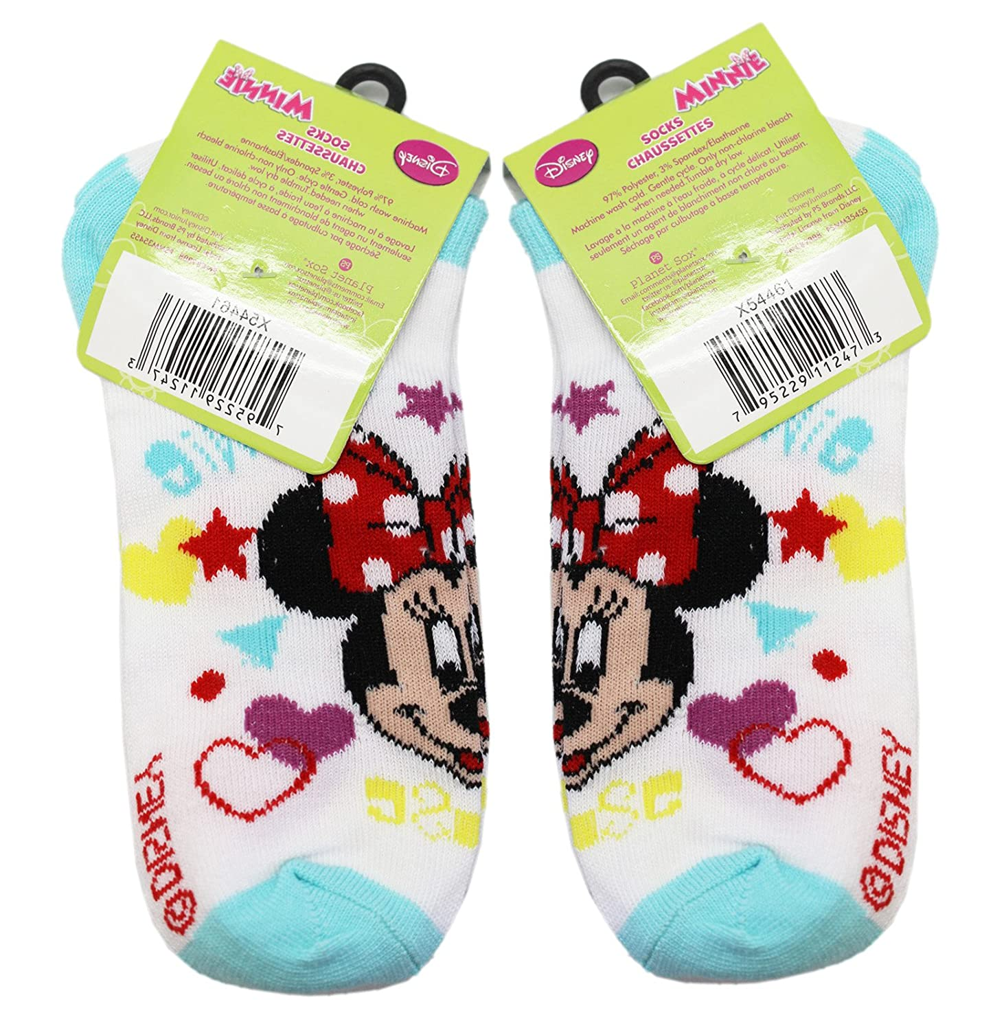 2 Pair, Size 6-8 Disneys Minnie Mouse Stars//Hearts Light Blue and White Socks